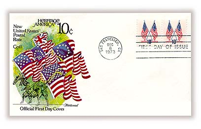 1973-74 10c 50-Star and 13-Star American Flags, coil