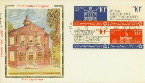 1974 10¢ First Continental Congress Silk Cachet First Day Cover
