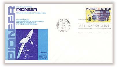 1975 10c Pioneer 10 and Jupiter