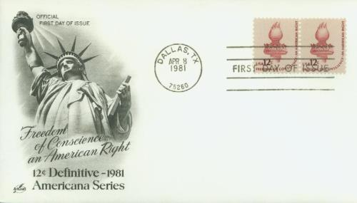 1975-81 12c Americana Series: Statue of Liberty Torch