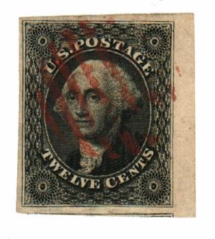 1851 12c Washington imperforate, black