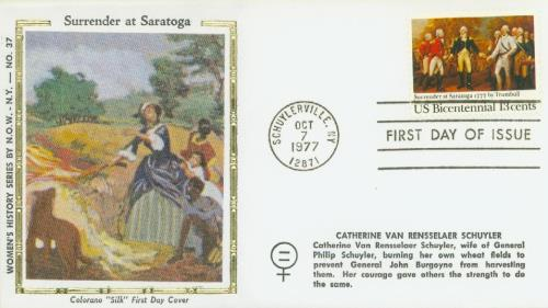 U.S. #1728 FDC – Silk First Day Cover pictures Catherine Van Rensselaer Schuyler burning her crops to prevent them from being harvested by the British.