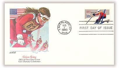 1980 15c Winter Olympics: Downhill Skier