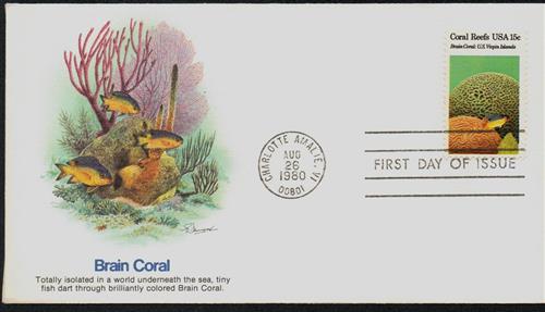 1980 15c Coral Reefs: Brain Coral
