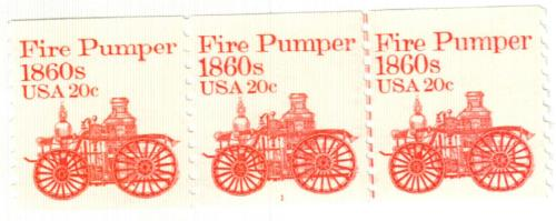 1981 20c Transportation Series: Fire Pumper, 1860s