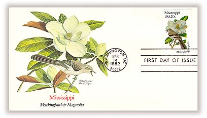 1982 20c Mississippi State Bird Flower For Sale At Mystic Stamp