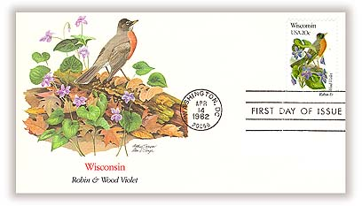 1982 20c State Birds and Flowers: Wisconsin