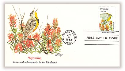 1982 20c State Birds and Flowers: Wyoming