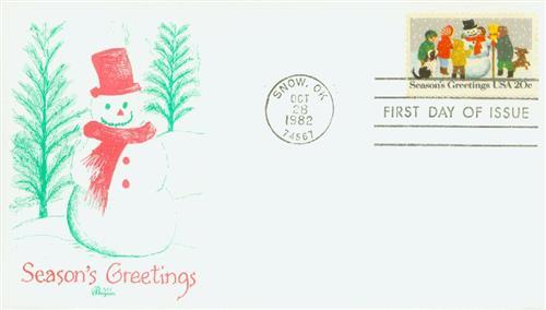 1982 20c Contemporary Christmas: Building a Snowman