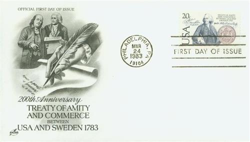 1983 20c US and Sweden