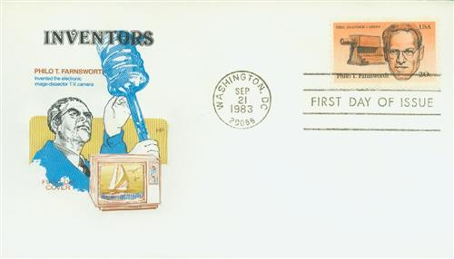 U.S. #2058 FDC – In his later life, Farnsworth became involved in research on radar and nuclear energy.