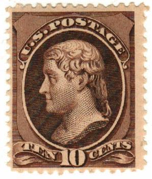 1882 10c Jefferson, brown