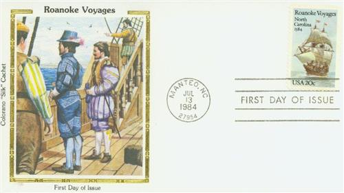 1984 Roanoke Voyages Colorano Silk Cachet First Day Cover