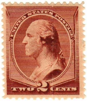 1883 2c Washington, red brown