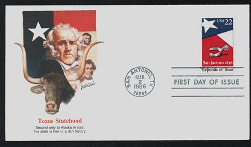 U.S. #2204 FDC – Republic of Texas First Day Cover.