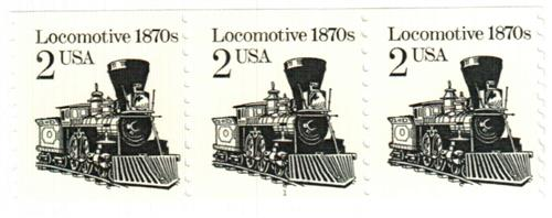 1987 2c Transportation Series: Locomotive, 1870s, re-engraved