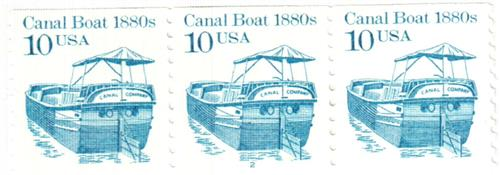 1987 10c Transportation Series: Canal Boat, 1880s