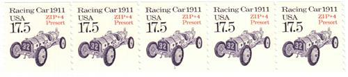 1987 17.5c Transportation Series: Racecar, 1911 (precancel)