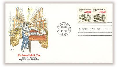 1988 21c Transportation Series: Railroad MailCar, 1920s