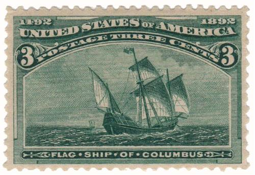 1893 3c Columbian Commemorative: Flagship of Columbus