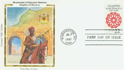 1987 Morocco Friendship Silk Cachet First Day Cover