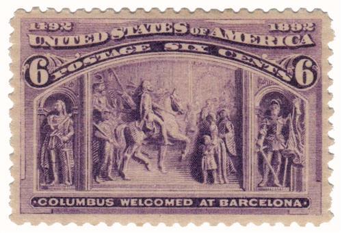 1893 6c Columbian Commemorative: Columbus Welcomed at Barcelona