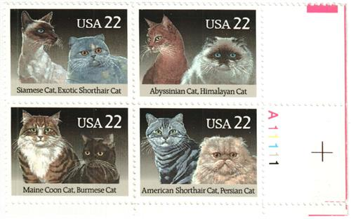 1988 22c Cats for sale at Mystic Stamp Company
