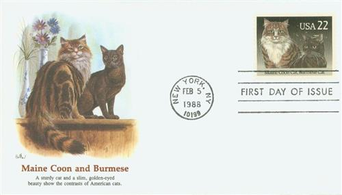 1988 22c Cats: Maine Coon and Burmese for sale at Mystic Stamp Company