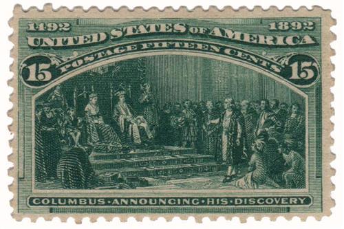 1893 15c Columbian Commemorative: Columbus Announcing His Discovery