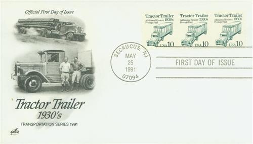1991 10c Transportation Series: Tractor Trailor, 1930s (cream background)