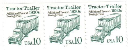 1994 10c Transportation Series: Tractor Trailer, 1930s (white background)
