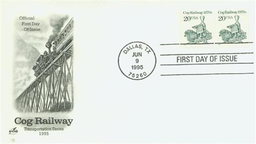 1995 20c Cog Railway, coil stamp