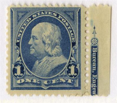 1894 1c Franklin, blue, unwatermarked