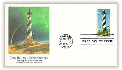 1990 25c East Coast Lighthouses: Cape Hatteras, North Carolina