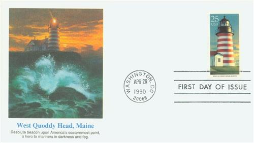 1990 25c West Quoddy Head, Maine