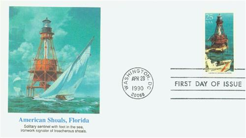 1990 25c East Coast Lighthouses: American Shoals, Florida