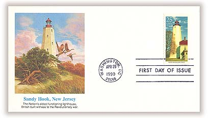 1990 25c East Coast Lighthouses: Sandy Hook, New Jersey