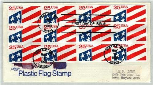 1990 25c Plastic Flag s/a bklt pane/12