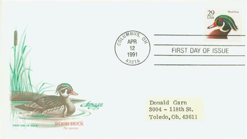 1991 29c Wood Duck,BEP,blk,bklt sgl.