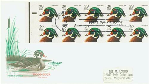 1991 29c Wood Duck,blk,bklt pane (10)