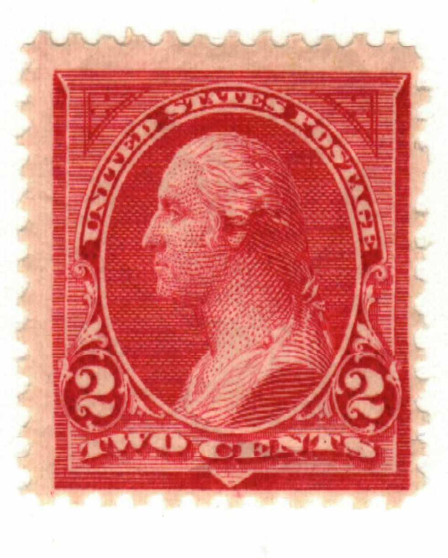 1894 2c Washington, carmine lake, type I