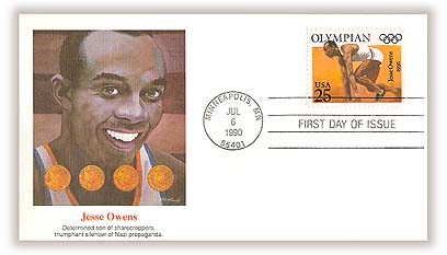 U.S. #2496 FDC – 1990 First Day Cover with portrait of Owens.