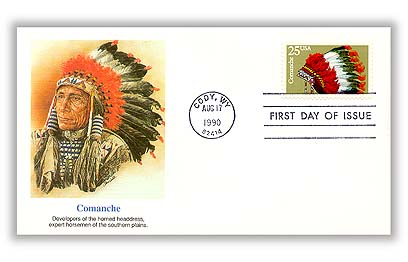 1990 25c Headdresses: Comanche