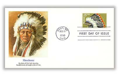 1990 25c Headdresses: Shoshone