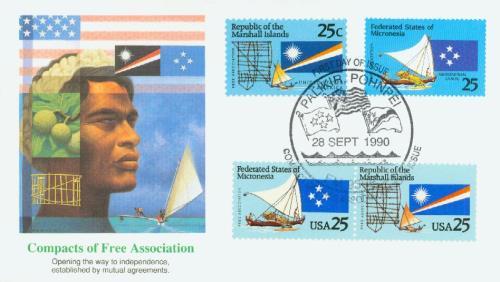 1990 25c Micronesia and Marshall Islands
