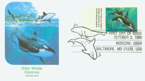 1990 25c Sea Creatures: Killer Whales