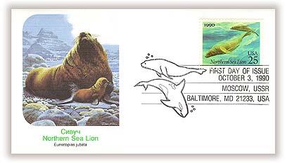 1990 25c Sea Creatures: Sea lion