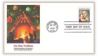 1990 25c Traditional Christmas: Madonna and Child