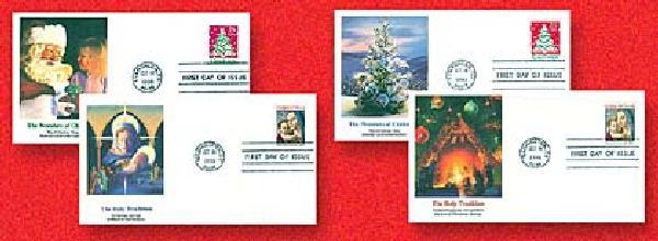 Christmas 1990 Set of 4 FDC