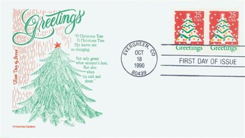 1990 25c Contemporary Christmas: Tree and Greetings, booklet single